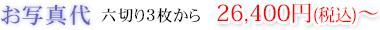 お写真代 六切り3枚から 26,400円(税込)~